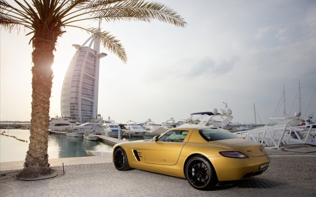 2010 Mercedes Benz SLS AMG Desert Gold 3 wallpaper